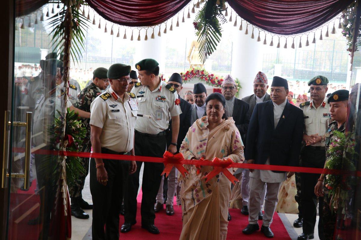 नेपाली सेनाको पुनर्निर्मित मुख्यालय जंगी अड्डाको उद्घाटन गर्दै राष्ट्रपति विद्यादेवी भण्डारी