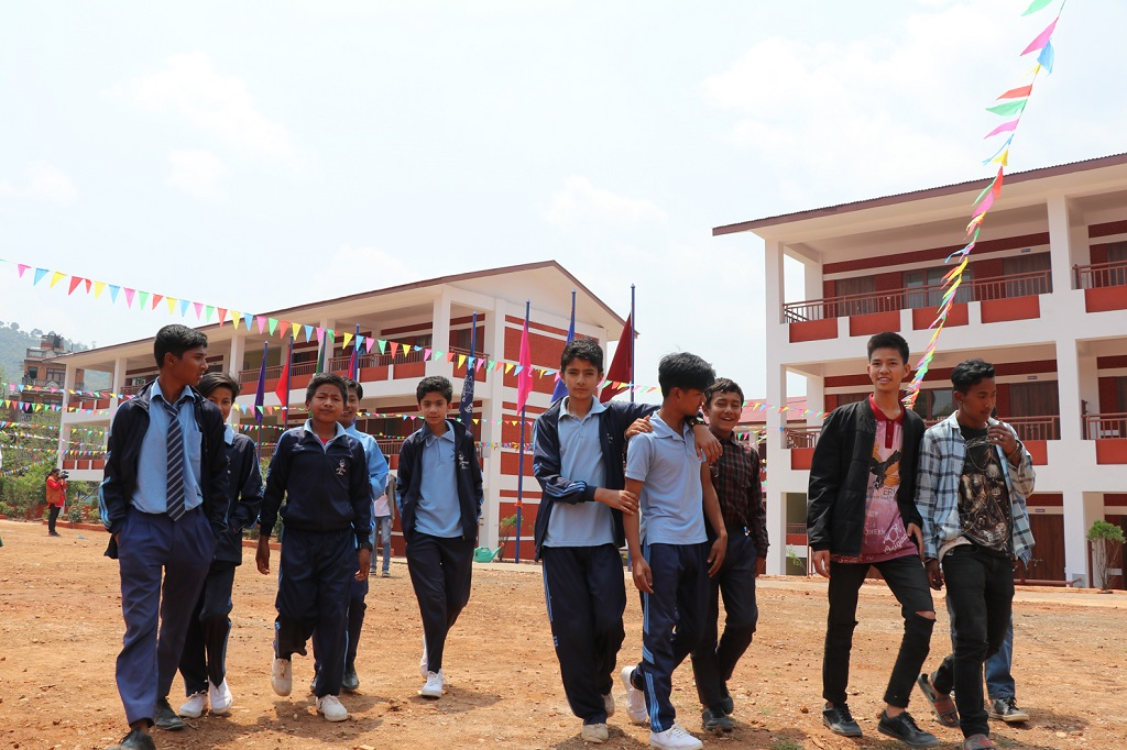 Students of Sanjiwani school- Dhulikhel in front of the reconstructed school buildings (1)